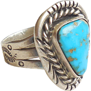 Signed Native American Sterling Silver Turquoise Ring Fancy Tooled Band