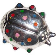 Heavy Taxco Mexican Sterling Silver Enameled Ladybug Pendant Pin