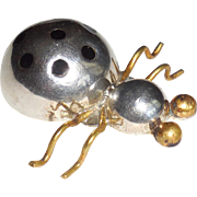 Taxco Mexican Sterling Silver Brass Enamel Ladybug Pin
