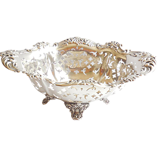 Antique Pierced Footed Sterling Silver Sweets Bon Bon Candy Nut Dish Bowl