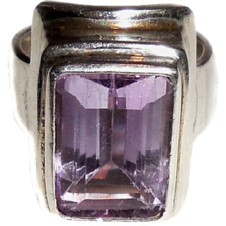 Large Chunky Sajen 14m Amethyst Sterling Silver Heavy Ring Size 7