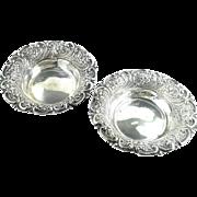 2 Antique Repoussed Art Nouveau Sterling Silver Bowls