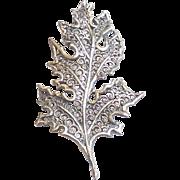 Vintage Mid Century Beau Sterling Silver Fancy Filigree Oak Leaf Pin