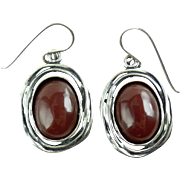 Handwrought Israeli Sterling Silver Carnelian Dangle Pierced Earrings Modernist