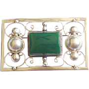 Large Vintage Mexican Sterling Silver Chalcedony Green Stone Pin Fancy