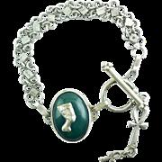 Large Egyptian Hallmark Sterling Silver Bracelet Nefertiti Chalcedony Ankh