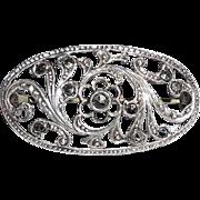Fancy Art Deco Sterling Silver Marcasite Filigree Pin Germany