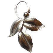 Mid Century Van Dell Sterling Silver Wild Berry Cherry 3 Leaf Pin Mint