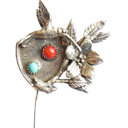 Vintage Southwestern Sterling Silver Turquoise Coral Hummingbird Bird Stickpin