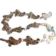 Vintage LS Taxco Mexican Sterling Silver Abalone Collar Necklace