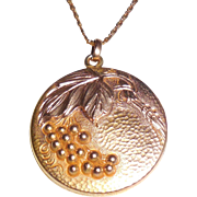 Antique Victorian Aesthetic Gold Filled Locket Pendant Necklace