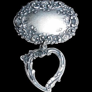 Antique Victorian Art Nouveau Sterling Silver Dangle Heart Pin