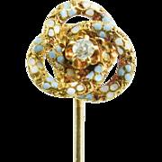 Antique Victorian 14K Gold Enamel Diamond Stickpin