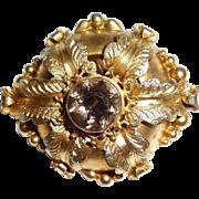 Antique Victorian Aesthetic Gold Gilt Smoky Quartz Pin Chunky