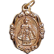 Antique Victorian SHJ Infant Of Prague Fob Charm Pendant Christian Catholic