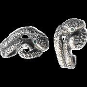 Large  Vintage Sterling Silver Green Eye Cobra Snake Mens Cufflinks Figural Hallmarked