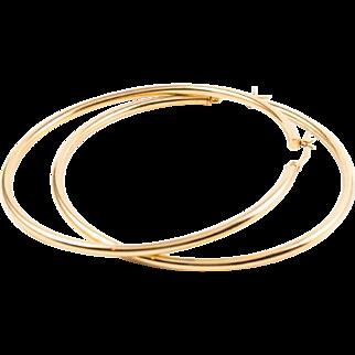 Large Size Vintage 14K Gold Hoop Earrings 6.6 grams