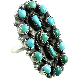 Big Zuni Native American Sterling Silver Petit Point Turquoise Ring 7.75