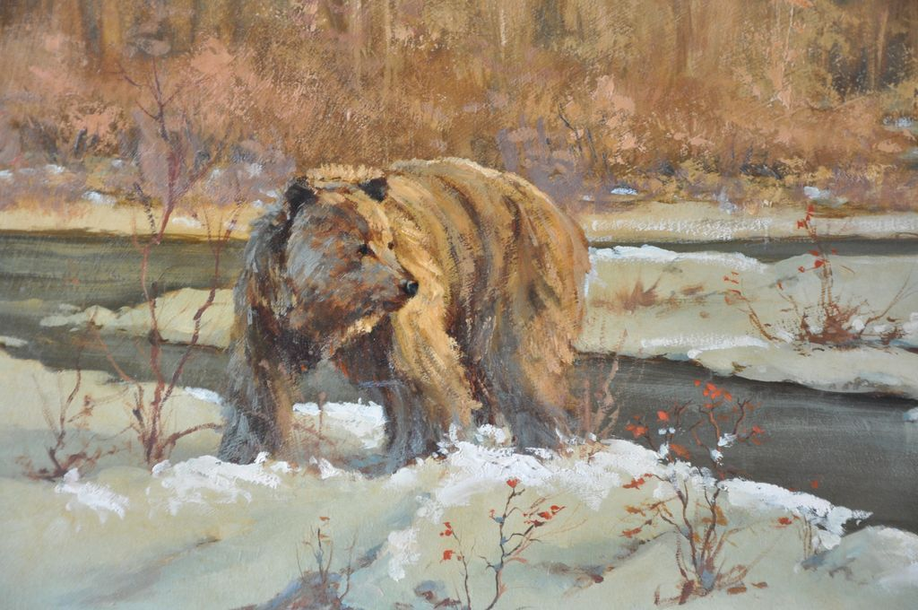 Glacier National Park with Grizzly Bear Oil Painting by Mark Ogle
