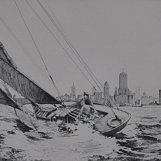 """Off Lakeshore Drive - Chicago"" Fine Etching by Leon R. Pescheret 1937"