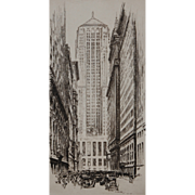 Lasalle Street Canyon Etching by Schneider dated 1930.