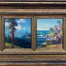 Early 20th Century Miniature Plein Air Paintings by Walter Engelhardt