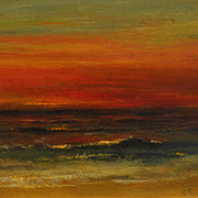 Exceptional Tonalist Sunset Oil Painting by Karl Termohlen (1851 - 1938)