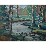 Fine Landscape Oil on Board by Well Listed Louisiana Artist Clarence Millet (1897 - 1959)