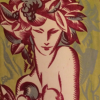 """Bacchante"" Circa 1930 Art Deco Color Woodcut by Roland F. Cosimini (1898-1945)"