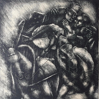 """1930 Lithograph """"Sleigh Drive"""" by George  Biddle (1885-1973)"""