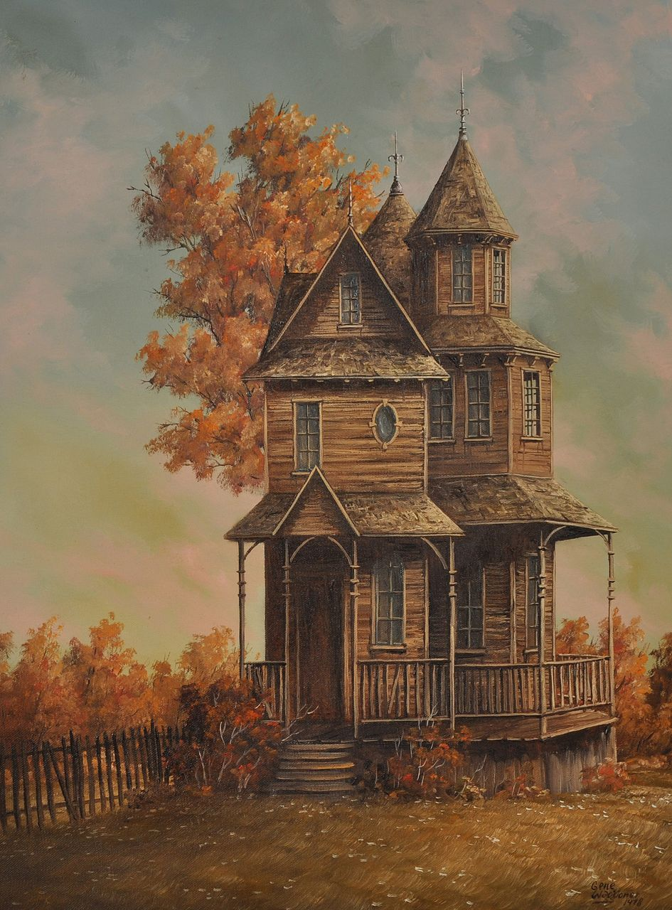 20th century painting of victorian house by gene waggoner for House painting images