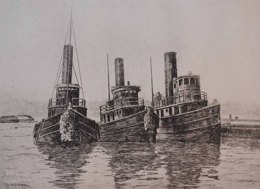 """Tugs, Fulton Market"" Etching by George Stimmel"