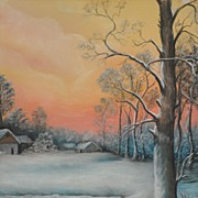 Vintage Winter Landscape Signed Gray c. 1940