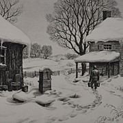 "Beautiful 1939 Etching ""Winter Chores"" by Ronau Woiceske"