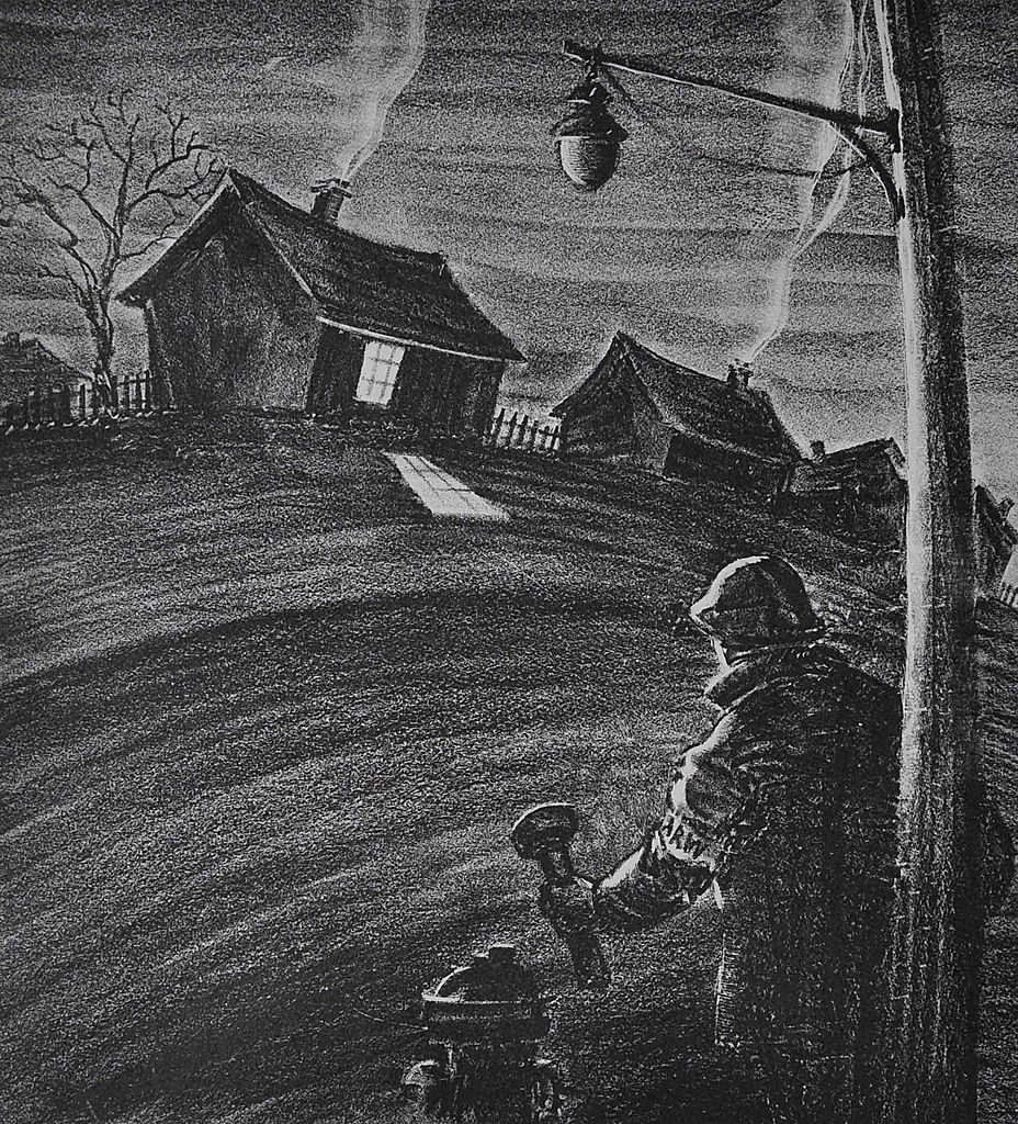 """Blackout"" Original Lithograph by Paul Keller c. 1940"