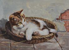 Adorable Kitten in a Basket by Hans Fenger (1893 - 1980)