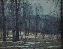 John F. Carlson Salmagundi Club Thumb Box Oil Painting c. 1920