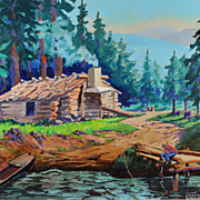 Colorful Cabin Scene by Oregon Artist Thayne J. Logan