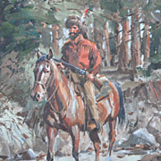 Western Painting, Horse and Rider, by Pers Crowell