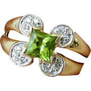 14K Yellow Gold Peridot Ring with Diamond Accents Size 7