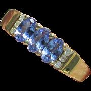 14K Yellow Gold Triple Gemstone Tanzanite Ring Size 8 1/4