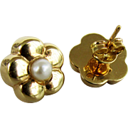 Italian Made 18K Yellow Gold Stud Earrings with Cultured Pearls
