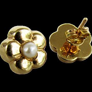 Italian Made 18K Yellow Gold Stud Earrings