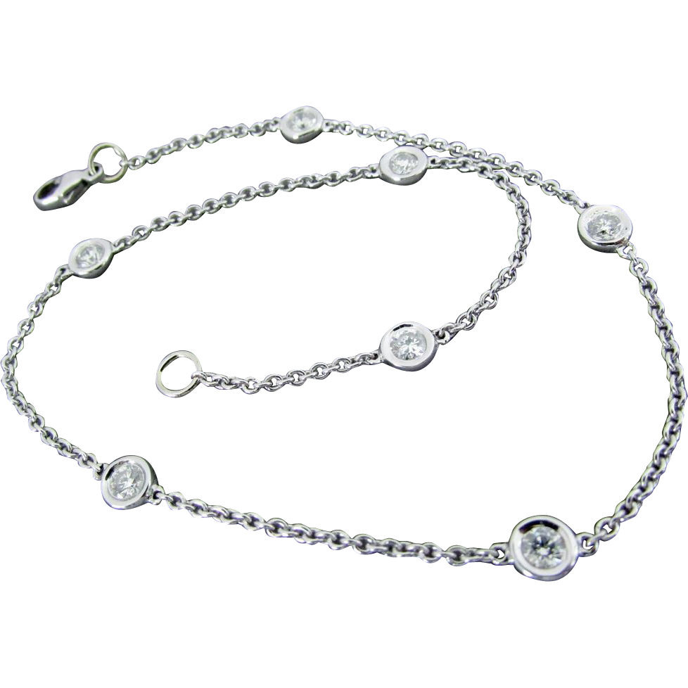 14k white gold anklet or bracelet 9 1 2 inches sold on