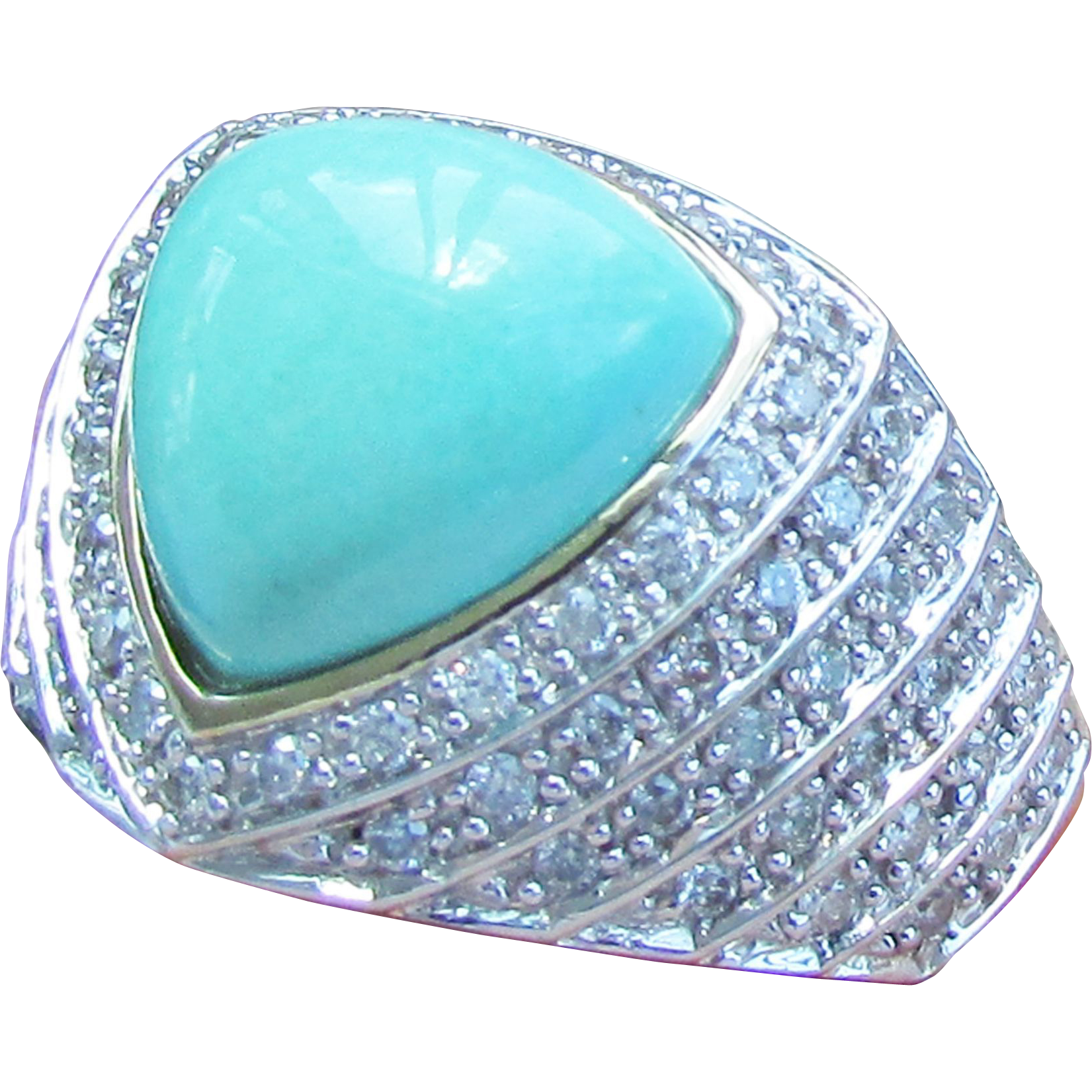 14k yellow gold turquoise ring with diamonds size 8 1 4