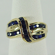 Classically Elegant Bokeo Sapphire Ring in 14K YG Size 5 1/4