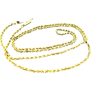 """9 Grams, 14K YG Twisted Rope Chain Necklace , 24"""""""