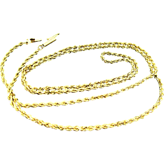 9 Grams, 14K YG Twisted Rope Chain Necklace , 24""