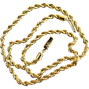 """21.5 Grams, 14K Italian Yellow Gold Heavy Rope Necklace, 20""""x5mm"""
