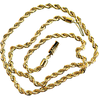 "21.5 Grams, 14K Italian Yellow Gold Heavy Rope Necklace, 20""x5mm"
